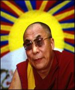Image of Dalai Lama and Tibetan Flag
